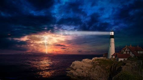 Sunset Lighthouse 4K Wallpapers | HD Wallpapers | ID #28881