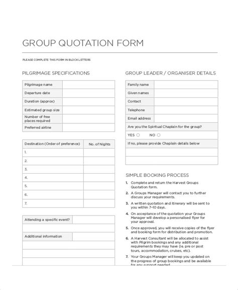 FREE 10+ Sample Quotation Forms in MS Word | PDF