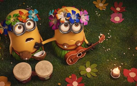 Download wallpapers Minions, beach musicians, party