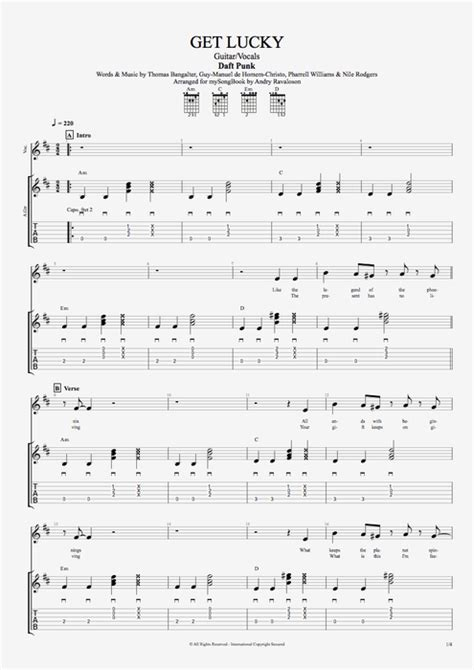 Get Lucky by Daft Punk - Guitar/Vocals Guitar Pro Tab