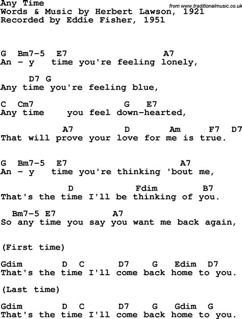 Song lyrics with guitar chords for Any Time - Eddie Fisher