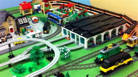LEGO NXT monorail, trains and airport at an exhibition in