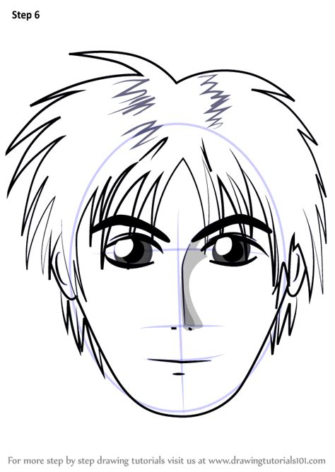 Learn How to Draw Anime Boy Face (Face) Step by Step