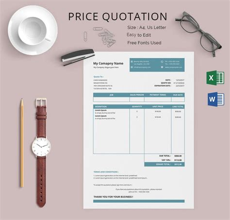 Price Quotation Template - 15+ Free Word, Excel, PDF